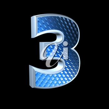 abstract 3d digit with blue pattern texture - 3