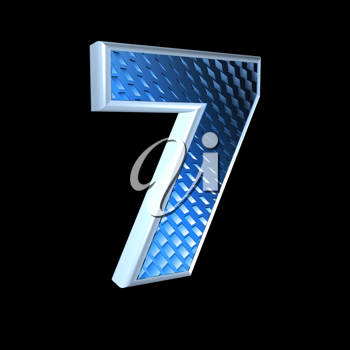 abstract 3d digit with blue pattern texture - 7