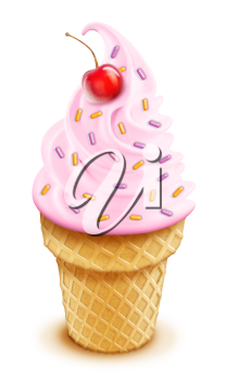 Royalty Free Clipart Image of a Cherry Ice-Cream Cone With Sprinkles