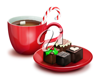 Royalty Free Clipart Image of Hot Cocoa and a Plate of Christmas Goodies