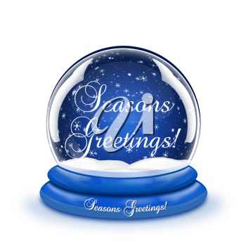 Royalty Free Clipart Image of a Season's Greetings Snow Globe