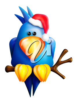 Royalty Free Clipart Image of a Bird in a Santa Hat