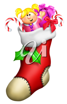 Royalty Free Clipart Image of a Stocking With Gifts