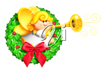 Royalty Free Clipart Image of an Angel Wreath