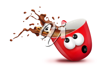 Royalty Free Clipart Image of Cup Spilling Hot Chocolate