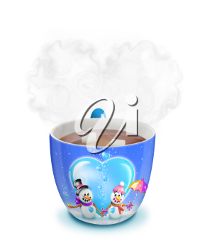 Royalty Free Clipart Image of a Mug of Hot Chocolate With Two Snowmen