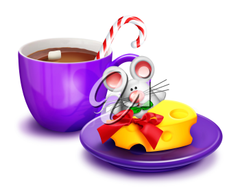 Royalty Free Clipart Image of a Mouse Eating Cheese Beside a Cup of Hot Chocolate