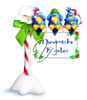 Royalty Free Clipart Image of Birds on a Sign for the North Pole