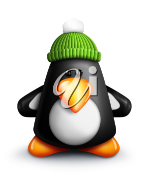 Royalty Free Clipart Image of a Penguin in a Green Hat