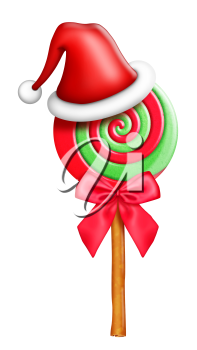 Royalty Free Clipart Image of a Santa Hat on a Lollipop