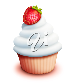 Royalty Free Clipart Image of a Cupcake With a Berry on Top