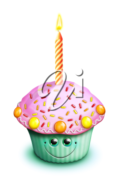 Royalty Free Clipart Image of an Iced Cupcake