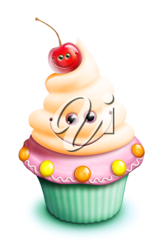 Royalty Free Clipart Image of a Cupcake With a Cherry