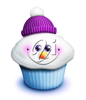Royalty Free Clipart Image of a Snowman Cupcake