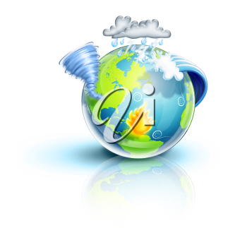 Royalty Free Clipart Image of Weather Above a Globe