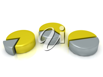Royalty Free Clipart Image of Gold and Silver Charts