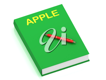 Royalty Free Clipart Image of the Word Apple on a Book