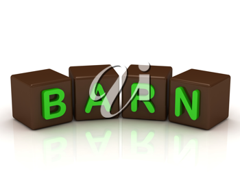 Royalty Free Clipart Image of the Word Barn on Cubes