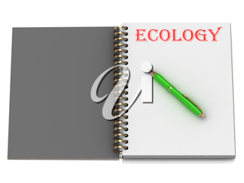 Royalty Free Clipart Image of a Book With the Word Ecology