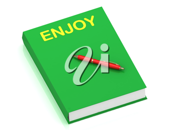 Royalty Free Clipart Image of a Book With the Word Enjoy