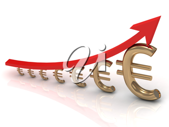 Royalty Free Clipart Image of a Graph With Euros and an Arrow