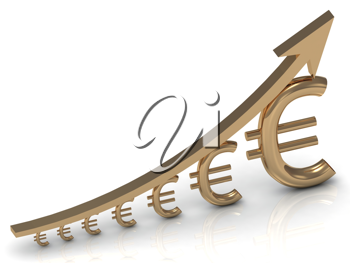Royalty Free Clipart Image of a Euro and Arrow