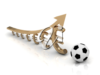 Royalty Free Clipart Image of a Graph of Euro Symbols With a Soccer Ball