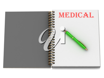 Royalty Free Clipart Image of a Book With the Word Medical