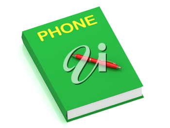 Royalty Free Clipart Image of a Book With the Word Phone