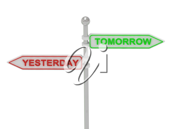 Royalty Free Clipart Image of an Arrow Sign With the Words Yesterday and Tomorrow