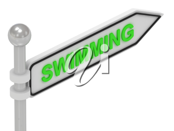 Royalty Free Clipart Image of an Arrow Sign With the Word Swimming