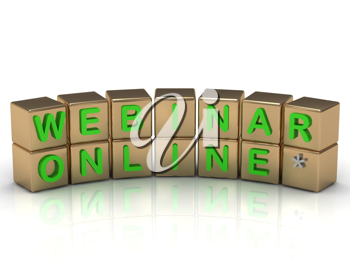 Royalty Free Clipart Image of Blocks With the Words Webinar and Online