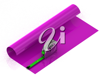 Measuring the length of adhesive tape bright purple oilcloth