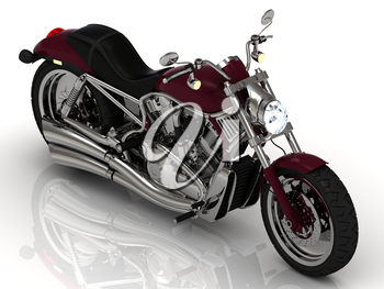 Beautiful road motorcycle with the headlight on a white background