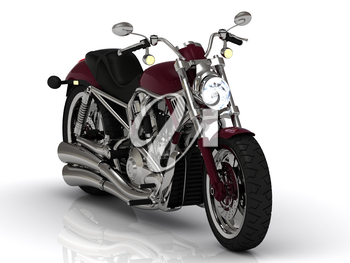 Beautiful road motorcycle with lights on a white background. Front view