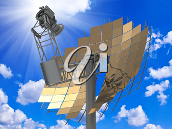 Directional antenna solar panels against a bright sunny sky with clouds