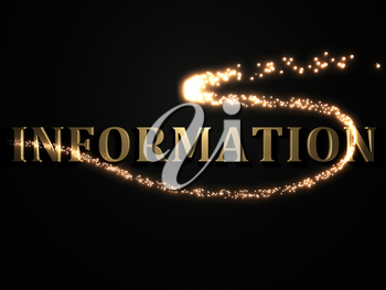 INFORMATION- 3d inscription with luminous line with spark on contrasting background