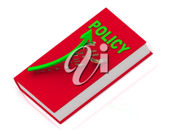 Thick book in red cover with inscription policy and statuette growing gilded euro with green arrow