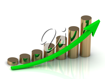 Growth of golden pillars and green arrows. Business graph output
