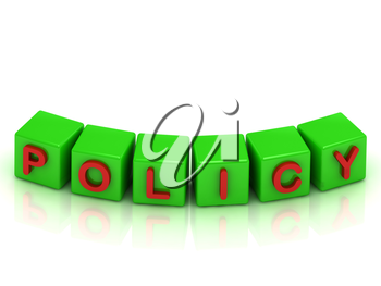 POLICY Inscription on the cubes of green colour on a white background