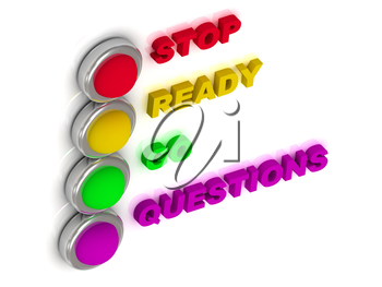 Traffic lights with red, yellow, green and lilac lights traffic with inscriptions stop, ready, go, questions