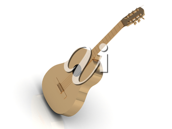 Acoustic guitar made of gold with golden strings