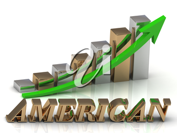 AMERICAN- inscription of gold letters and Graphic growth and gold arrows on white background