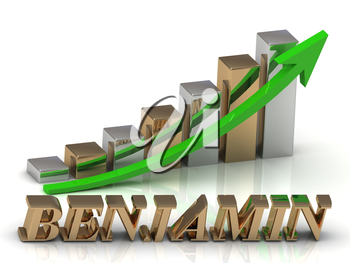 BENJAMIN- inscription of gold letters and Graphic growth and gold arrows on white background