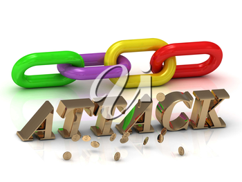 ATTACK- inscription of bright letters and color chain on white background