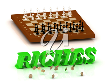 RICHES- inscription of green letters and chess on white background