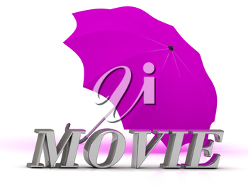 MOVIE- inscription of silver letters and umbrella on white background