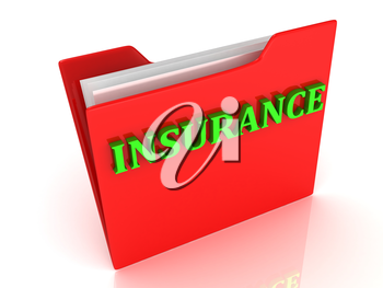 INSURANCE bright green letters on a red folder on a white background