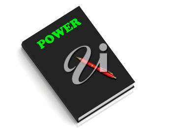 POWER- inscription of green letters on black book on white background