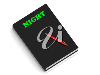 NIGHT- inscription of green letters on black book on white background